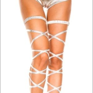 Accessories - Silver Rave Leg Wraps worn once